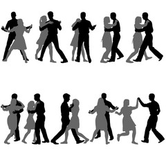 Black set silhouettes dancing man and woman on white background