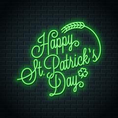 Patrick day neon lettering. Happy Patricks Day