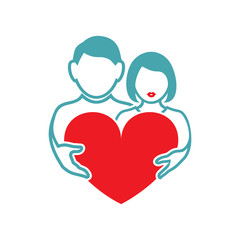 Vector illustration the guy and the girl hold red heart. Set of vector symbols. Great mutual love. Happy family life after the wedding. Flat design