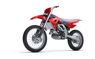 3D illustration of red glossy sports motorcycle isolated on white background. Perspective. Side view. Low angle view. Left side