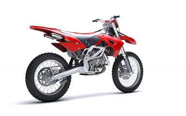 3D illustration of red glossy sports motorcycle isolated on white background. Perspective. Right side view