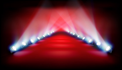 Light effects on the stage during a fashion show. Vector illustration.