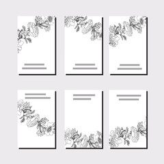 Set with six floral templates. Black roses.