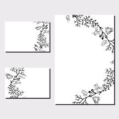 Floral templates with black bunches.