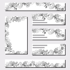 Floral templates with black bunches of roses.