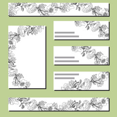 Floral templates with black roses.