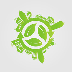 Ecology concept. save world.GGreen Cities Helps the World With Eco-Friendly Concepts.vector illustration