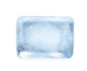 Single ice cube on white background. Frozen liquid