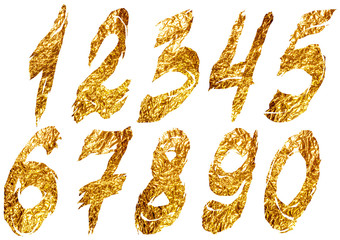Golden foil ragged arabic numerals on white background
