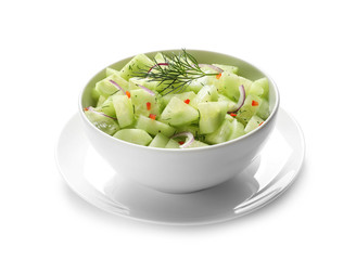 Delicious cucumber salad with onion and dill in bowl on white background