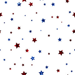 Red and Blue Stars Seamless Pattern - Scattered red and blue glitter stars on white background seamless pattern