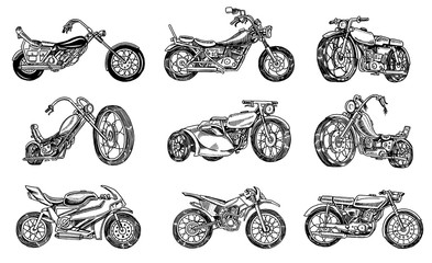 Set of Vintage motorcycles. Collection of bicycles. Extreme Biker Transport. Retro Old Style. Hand drawn Engraved Monochrome Sketch.