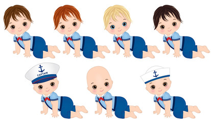 Vector Cute Baby Boys Dressed in Nautical style