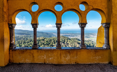 View of Valley through Arched Wall of Pena Palace Wall mural