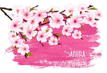 Wall Mural - Spring nature background with pink sakura branch. Vector