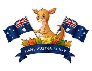 Happy australia Day with kangaroo on white background