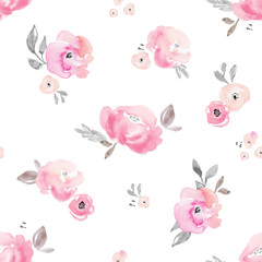 Light Pink Blush Pastel Floral Background Pattern. Flower Pattern.