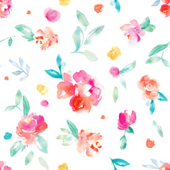 Cute, Bright, Colorful Watercolor Flower Background Pattern. Girly Spring Floral Wallpaper Patterns