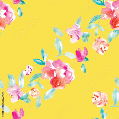 c72fe9549d981 Cute, Bright, Colorful Watercolor Flower Background Pattern. Girly Spring  Floral Wallpaper Patterns