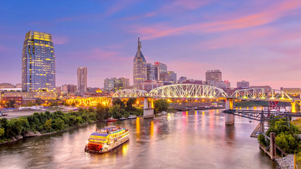 Aluminium Prints American Famous Place Nashville, Tennessee downtown skyline at twilight