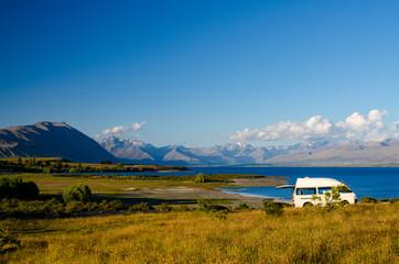 camping on shore of lake tekapo, new zealand