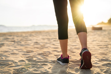 Lady running on the beach