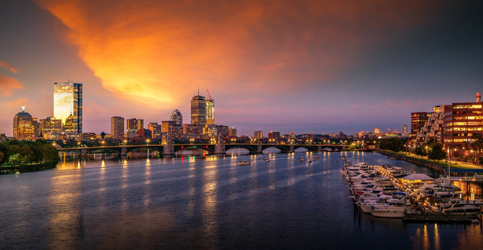 Bridge in Boston city with night and sunrise morning sky