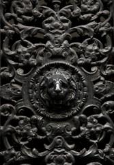 Decorative window metal door with a lion