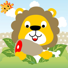 Lion with his favorite foods, vector cartoon illustration. Eps 10
