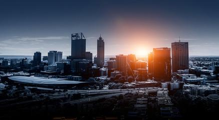Night glowing cityscape