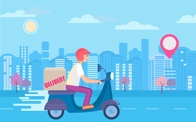 Fast and free scooter delivery concept. Food and other shipping service for apps and websites. Vector illustration of quick and express bike deliver. Advertise for restaurants, caffees, shops.