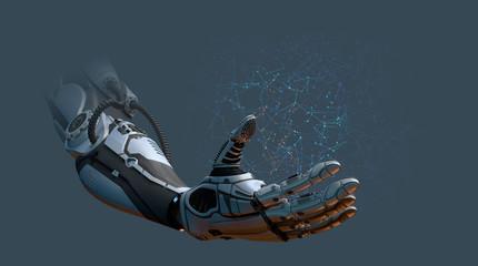Robot arm network concept, 3d render.