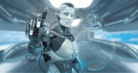 Robot on futuristic background, 3d render
