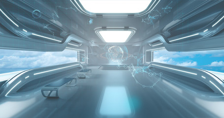 Spaceship interrior on Futuristic background, 3d render