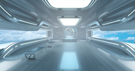 Spaceship interrior on Futuristic background, 3d render