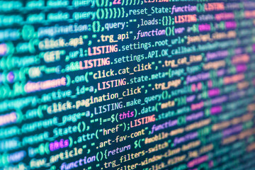 Programming code abstract company office. Abstract concept graphic technology element Web abstract programming and created virus on laptop screen. Web design business working time.