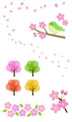 Sakura and small bird illustration set