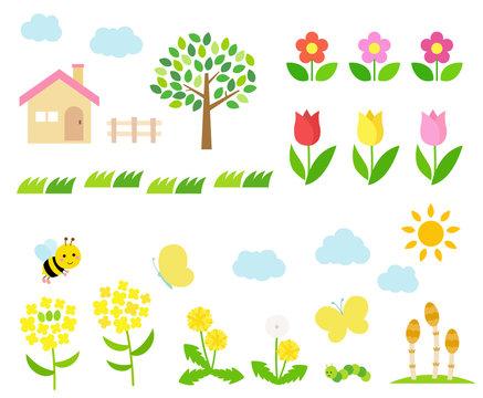 Spring landscape illustration set