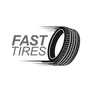Illustration fast tires in black color logo concept design template
