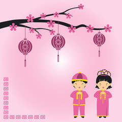 Chinese new year vector couple design traditional and lantern