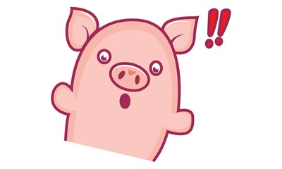 Vector cartoon illustration of cute pig shocked. Isolated on white background.
