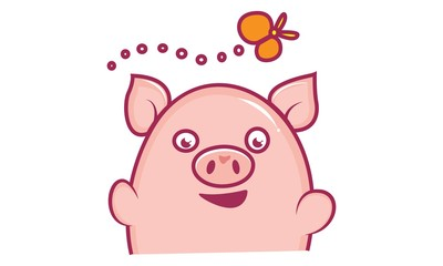 Vector cartoon illustration of cute pig happy. Isolated on white background.