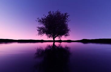 3d rendering of lonely tree in seashore landscape