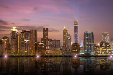 Fotomurales - Bangkok urban cityscape skyline night scene with empty marble tile floor on front