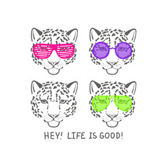Vector sketch head of leopard in pink club glasses