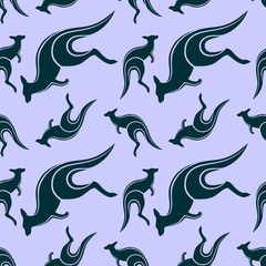 Seamless pattern with jumping kangaroo. Vector illustration