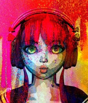 Portrait of happy anime girl with headphone,3d rendering,pop art style