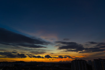 Beautiful and amazing nature sunset sunrise sky with clouds .