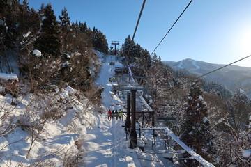 スキー場でスポーツを楽しむ人たち