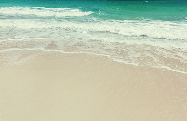 Fototapete - Abstract natural tropical background and texture, white sand and foam wave, relaxation and vacation concept